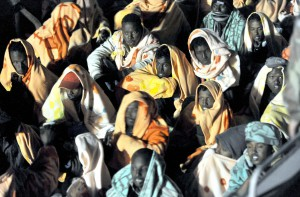 Migranti salvati a largo di Lampedusa   ANSA / ETTORE FERRARI