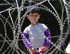 Palestina - bambino dietro filo spinato
