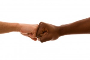 multiracial fist to fist agreement (isolated on white)
