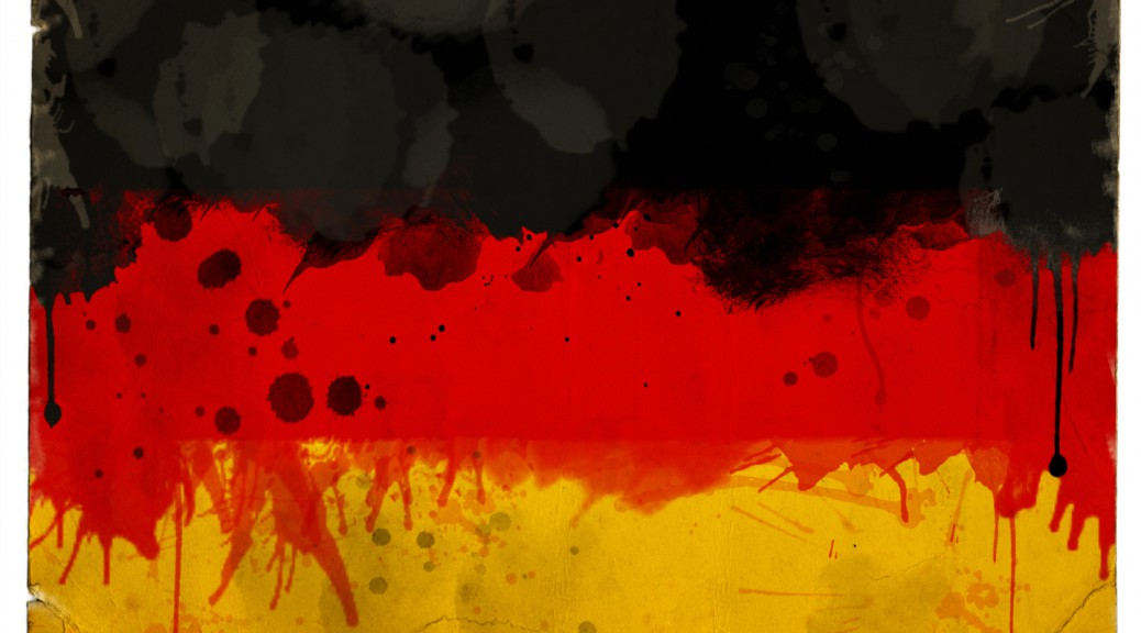 A splatter grunge effect tricolor flag of Germany