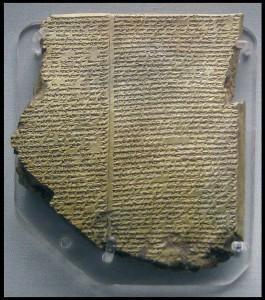 tavola cuneiforme con la descrizione dell'epopea di Gilgamesh