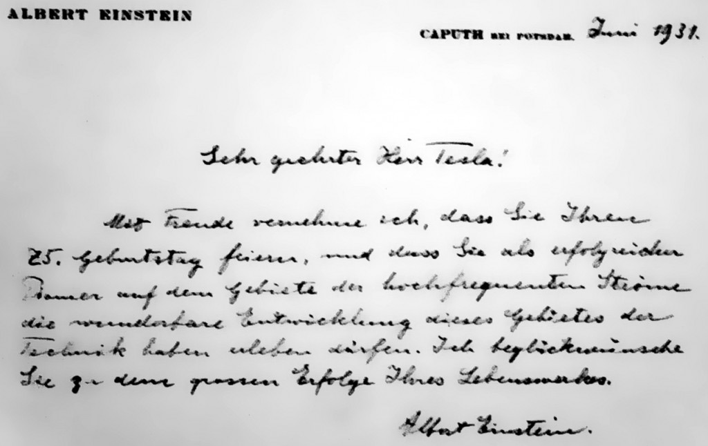 Lettera di Einstein a Tesla