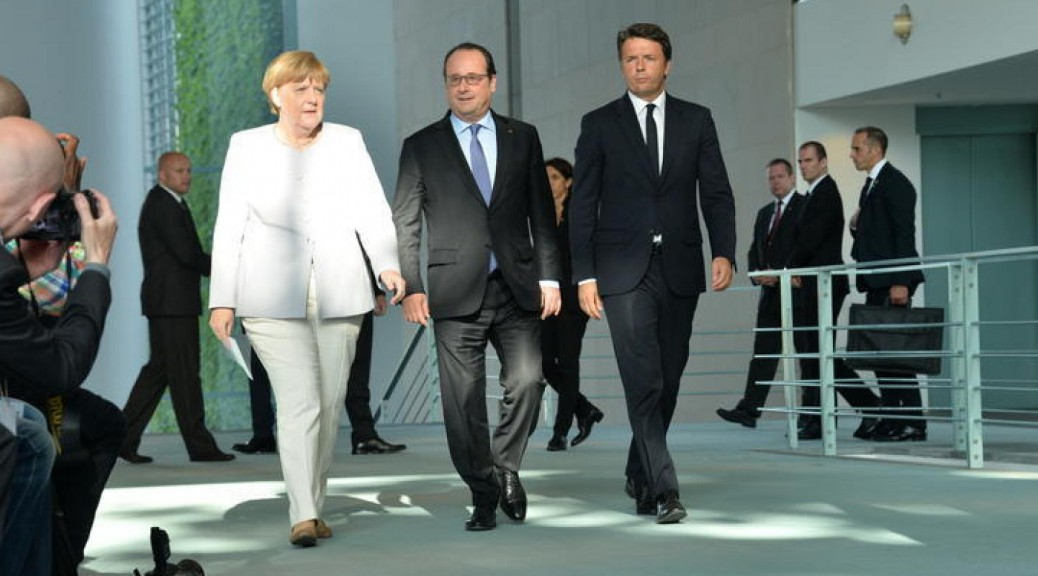 Conferenza stampa tra Francia, Germania e Italia sulla situazione dell'Europa