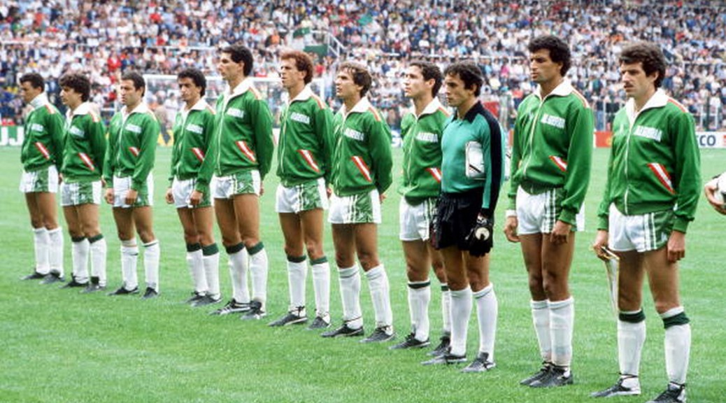 1982 World Cup Finals, Oviedo, Spain, 24th June, 1982, Algeria 3 v Chile 2, The Algeria team line up before the match  (Photo by Bob Thomas/Getty Images)